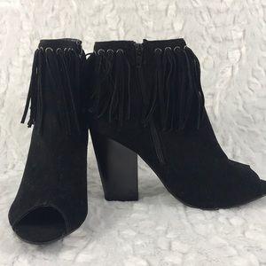 SOHO Girl peep toe fringe boots